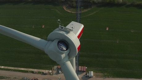 Modern air turbine under repair, close up