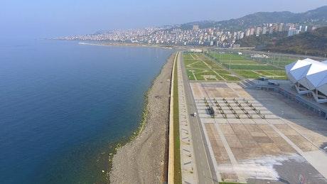 Modern football stadium near the sea