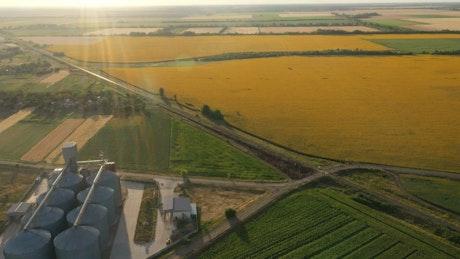Modern grain silos in the field