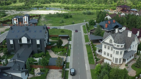 Modern houses at the edge of town