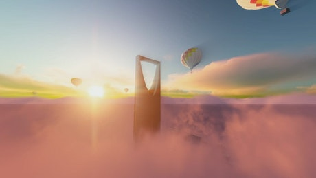 Modern skyscraper and hot air balloons in the sky