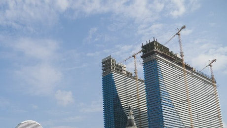 Modern skyscrapers under construction time lapse
