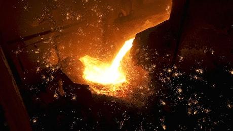 Molten metal in a workshop