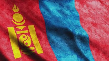 Mongolia Flag while waving, full screen