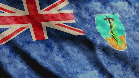 Montserrat faded flag 3D animation