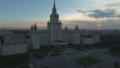 Moscow State University as night draws in