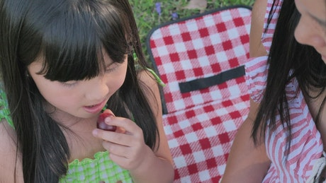 Mother and daughter eating fresh grapes