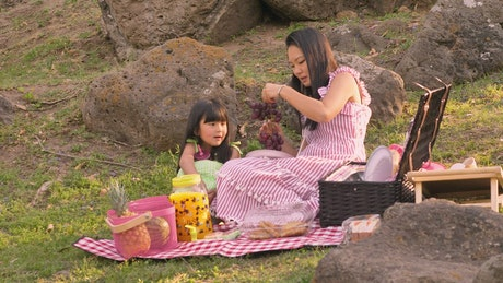 Mother and daughter on a picnic