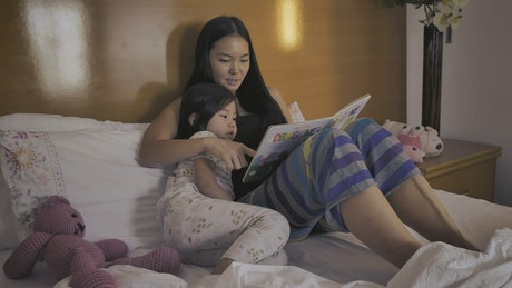Mother and daughter reading a book before bed