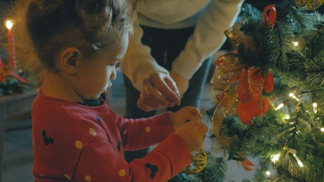 Mother helping her daughter to put a sphere to the Christmas tree