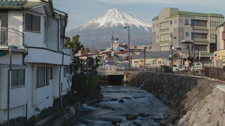 Mount Fuji and houses landscape