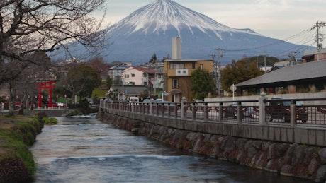 Mount Fuji and traffic road