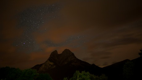 Mountain during the night until dawn