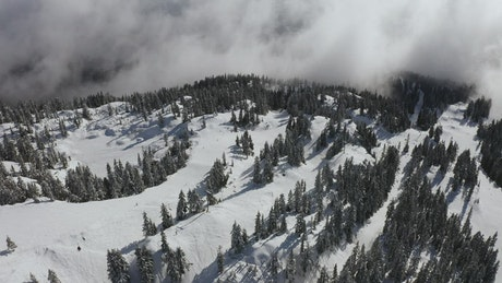 Mountain for skiing seen from the air