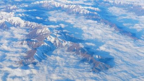 Mountain range view form airplane