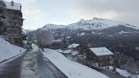 Mountain resort town in the snow
