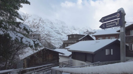 Mountain village with lots of snow on a bright day