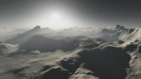 Mountainous surface of an alien world