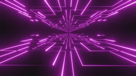 Moving between platforms with violet lights lines