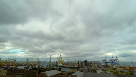 Moving cranes a trading port time lapse