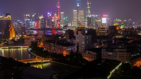 Multicolor Shanghai cityscape at night