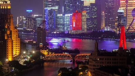 Multicolor urban cityscape in Shanghai