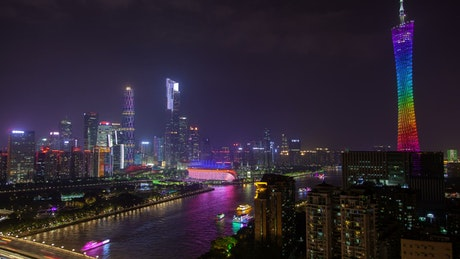 Multicolored canton tower in the night skyline