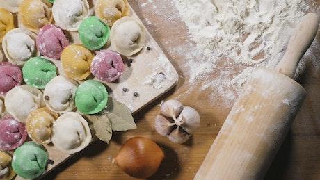 Multicolored homemade dumplings
