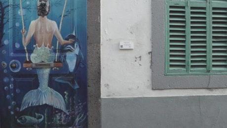 Mural art tour in the street