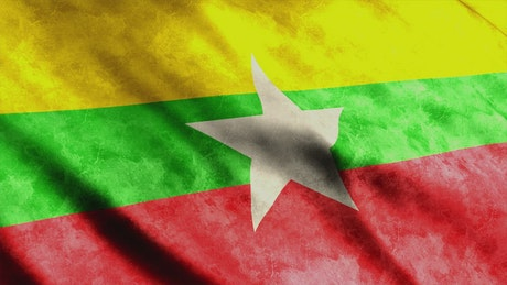 Myanmar faded waving flag