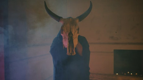Mysterious person in robe holding a bull's skull