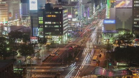 Nagoya city landscape with traffic at night