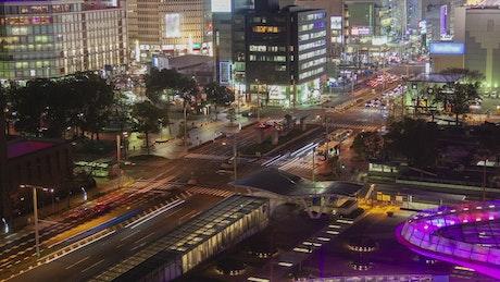 Nagoya cityscape time lapse at night