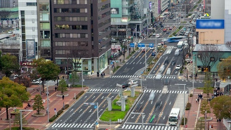 Nagoya urban landscape with traffic