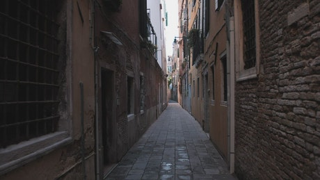 Narrow and old alley in Venice