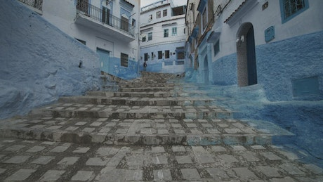 Narrow streets with painted blue in Morocco