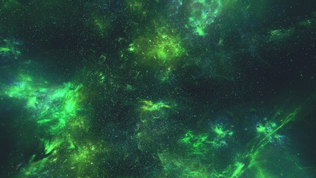Nebulae in phosphorescent green tones in space