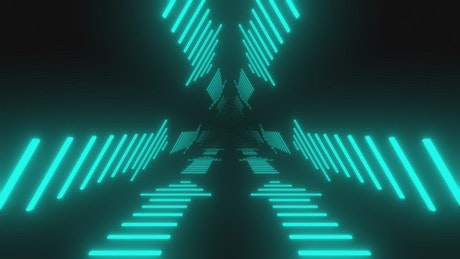 Neon arrows in a triangle tunnel