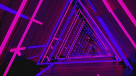 Neon cyberpunk triangle tunnel