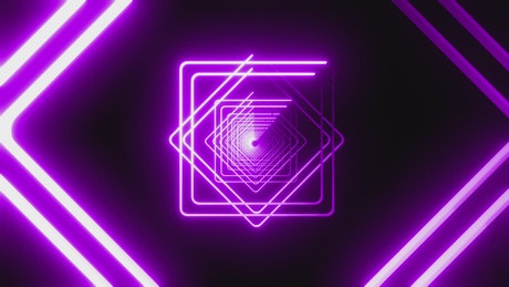 Neon light diamonds and squares forming a tunnel