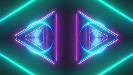 Neon light triangle and circle tunnels