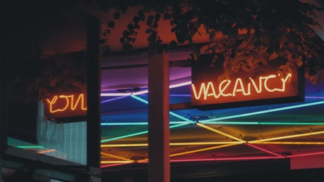 Neon lighting at a hotel entrance