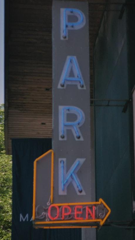 Neon Open Park Sign