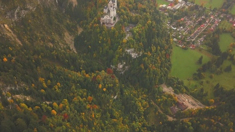 Neuschwanstein Castle seen from above, landscape
