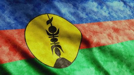 New Caledonia faded waving flag