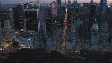 New York at night, aerial shot