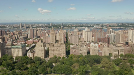 New York buildings from Central Park, aerial shot