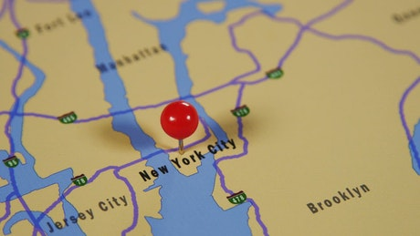 New York marked on a map