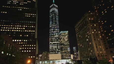 New York skyscraper at night