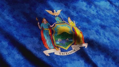 New York State flag waving